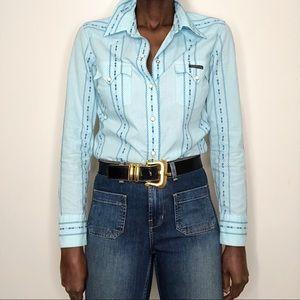 LUCKY BRAND | Blue Check Cotton Western Shirt